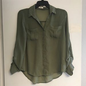 Tops - Sheer Army Green Button Up Blouse